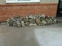 Rockery stones or dry stone wall