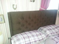 Double headboard Chocolate brown chenille height 52 inches width standard double bed