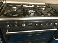 Black smeg 90cm dull full cooker grill & fan assets ovens with guarantee bargain