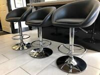 DELIVERY TODAY ONLY 3 x black swivel kitchen stools