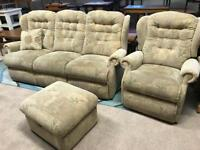 3 Seater Sofa/Recliner Chair/Footstool (@07752751518)/ Wingback Suite