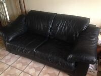 Black Leather Large Two Seater Sofa