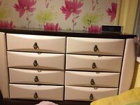 white leatherette 8 draw chest of draws