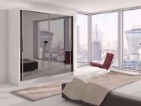 --Best Selling Brand -- New Full Mirror 2 Door Berlin sliding Wardrobe All Sizes Black White Walnut