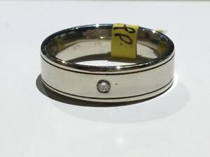 #1448 18K WHITE GOLD MENS PLAIN DIAMOND WEDDING BAND *SIZE 10 1/2* JUST BACK FROM APPRAISAL AT $2450 SELLING FOR $850!