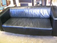 2 - seat real leather black sofa, solid wooden legs, comfy couch, quality settee, lounge, from IKEA