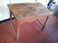 Hand engraved Arts & Crafts light oak table