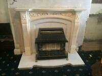 Stunning Marbel fireplace set with fire