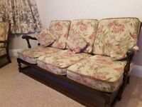 Ercol 3 seater sofa and 2 arm chairs