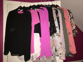13 Tops/Shirts/Blouses Oasis, Warehouse, Lipsy, Autograph, Zara all SIZE 8