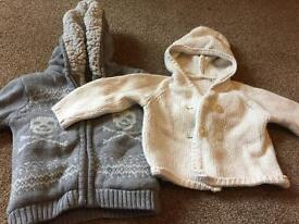 2 baby cardigans good condition 0-3