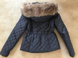 BEAUTIFUL BLACK JACKET WITH FUR HOOD ONLY WORE ONCE