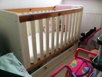 Cot with storage drawer and chest of drawers