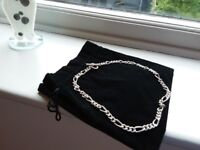 44cm sterling silver t bar thick chain link necklace