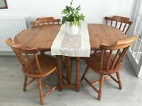 Pine extending table and 4 chairs