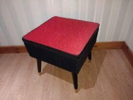 Vintage MCM Storage Stool - Mid Century Modern Retro Red Black fireside Sewing Box