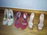 Ladies high heel shoes x 3