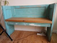 Wooden bench made from old doors