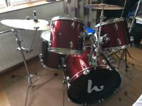 Drum kit and cymbals