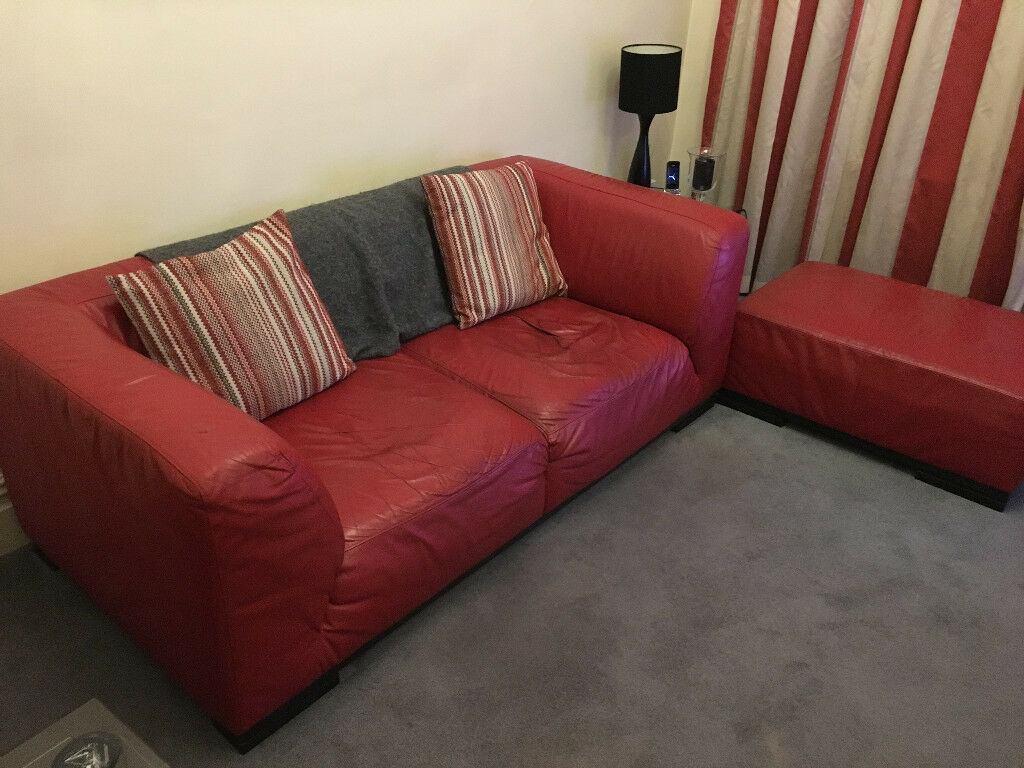 2 3 Seater Leather Sofa Maskreys Very Well Made In Red Matching Footstool