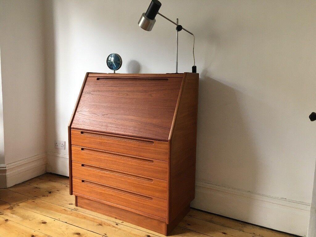 Danish Teak Writing Desk Bureau 60s Nils Jonsson Hjn Mobler Mid Century Modern