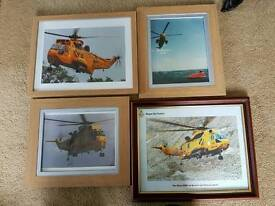 Set of 4 sea king framed photos
