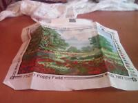New tapestry kit called Poppy Field.Design is of a field surrounded by trees and poppies growing.