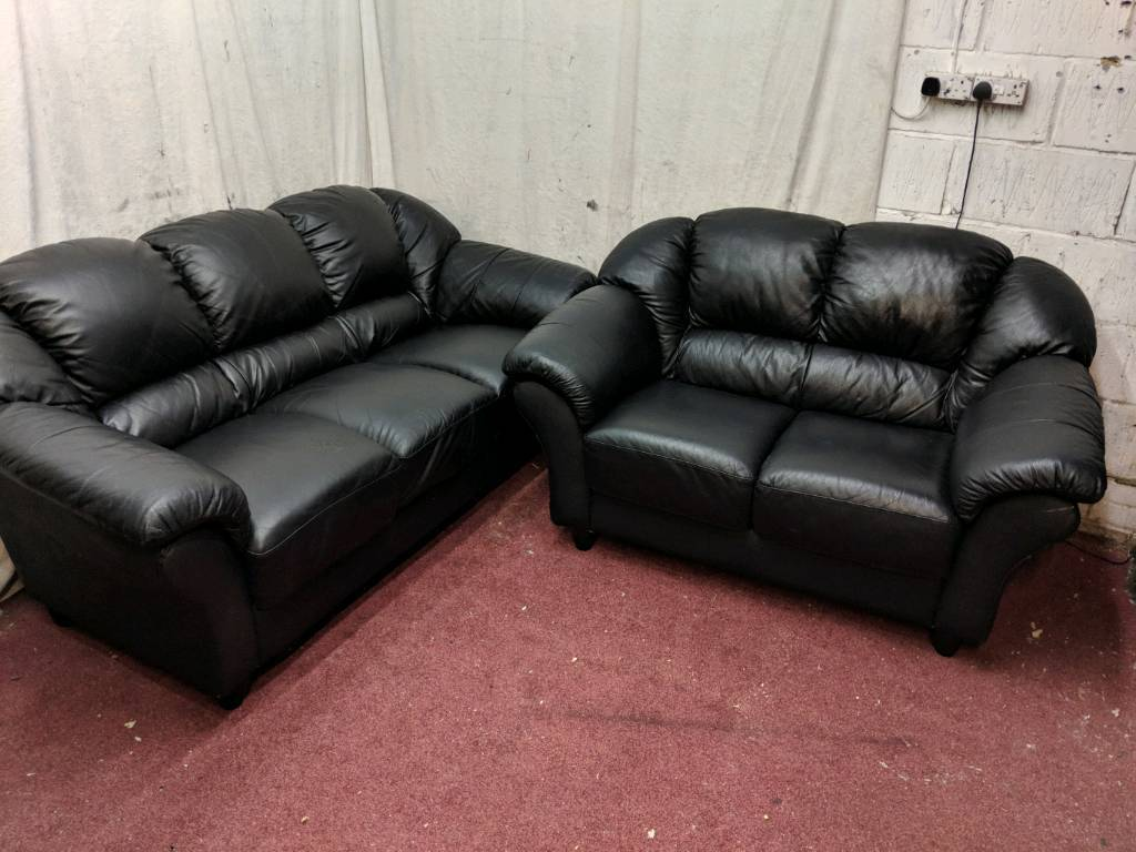 Black Italian leather 3 and 2 seater sofas   in Barking, London   Gumtree