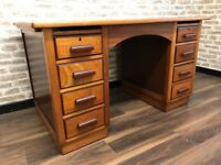 7 Drawer Retro Teak Office Desk