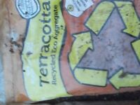 3 UNUSED BAGS OF TERRACOTTA AGGREGATE/MULCH TO SPREAD OVER SOIL IN POTS ETC. PICK UP MATLOCK/NOTTM