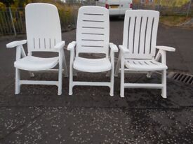 3 White Garden Chairs for sale.