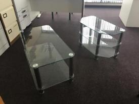 Glass tv and table unit