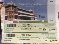 Pair of tickets for England v Pakistan at Lords - Sat 26th May- £140 for both- face value £80 each