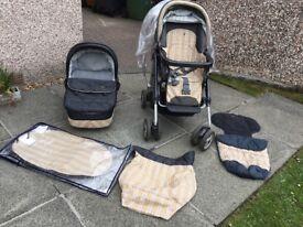 Mamas & papas mpx pushchair pram carrycot sun shade cosytoes apron rain cover bundle