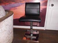 Black Leather Bar Stool / Desk Chair / Kitchen Chair