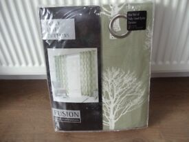 """Eyelet Curtains Woodland Trees Green 66 x 72"""" drop. Brand new. (Pair 2)"""