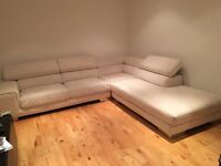 Cream corner sofa and chair