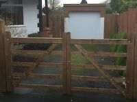 Solid wood double gates and posts