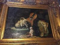 Vintage 19th century G. ROY painting of kittens