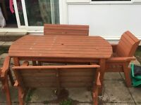Wooden table and chairs set, garden.