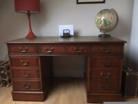 WOODEN OFFICE DESK LEATHER TOP WITH KEYS