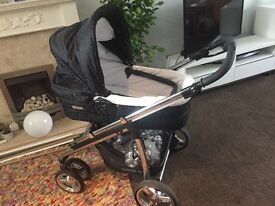 Bebe pram and travel system with car seat, rain covers and change bag in really good condition.
