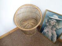 Vintage Retro Rattan Fan Back 'Peacock' Chair