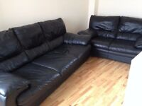 Black Leather Sofa 3+2 Seater For Sale!
