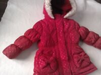 Girls autumn / winter coat 12-18 months Red spotty WILL POST faux fur hood bow at back