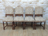 4 Fabric Vintage high back chairs (Delivery)
