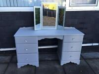 Large grey dressing table with glittery mirror
