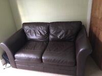 Next brown leather two seater sofa
