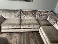 Crushed velvet corner sofa/couch