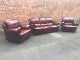 Ox blood leather suite
